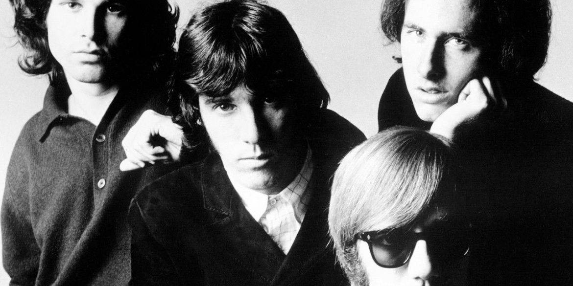 The Doors posing for a photo in 1968.