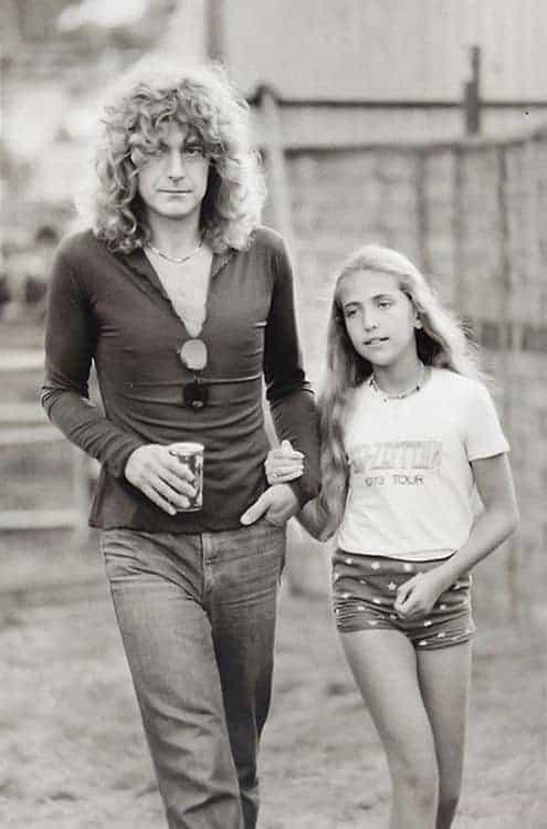 Carmen Jane Plant and Robert Plant backstage at Knebworth Festival in 1979.