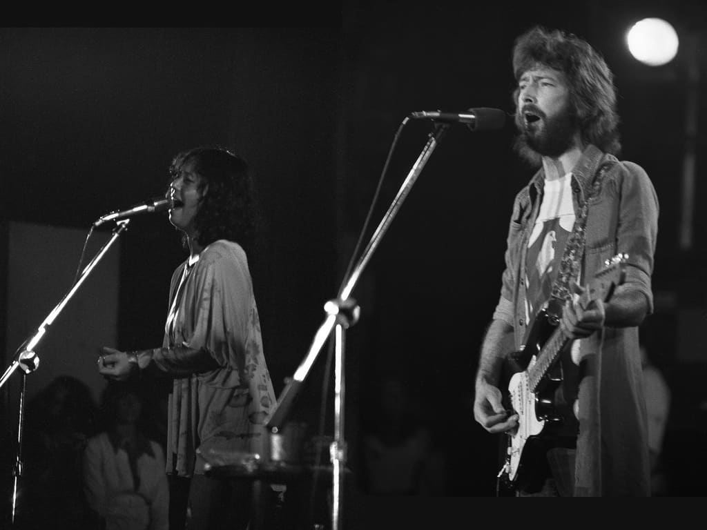 Eric Clapton with Yvonne Elliman; Swing Auditorium, San Bernardino, CA; There's One In Every Crowd Tour; Aug. 15, 1975. He's playing Blackie.