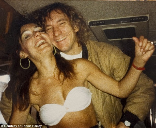 Connie Hamzy partying with Joe Walsh (1988).