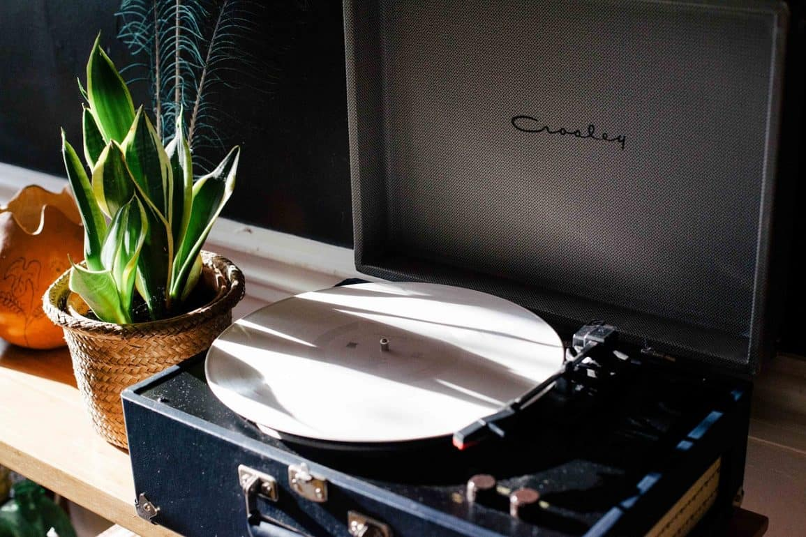 Portable Record Player on a desk.