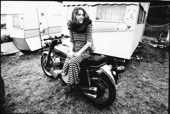 June Child sitting on motorcycle in 1971