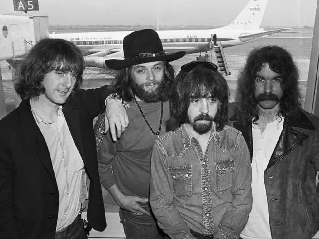 Clarence White and The Byrds at the airport in 1970.