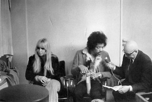 Monika Dannemann and Jimi Hendrix in Dusseldorf, Germany 1969.