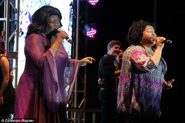Carolyn Dennis and her daughter perform together.