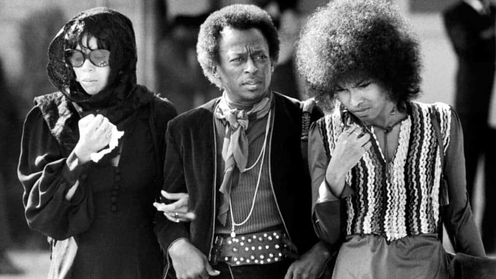 Betty Davis, Miles Davis and Devon Wilson at Jimi Hendrix's funeral October 1, 1970.