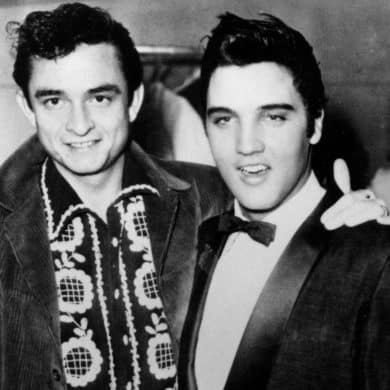 A young Johnny Cash and Elvis.
