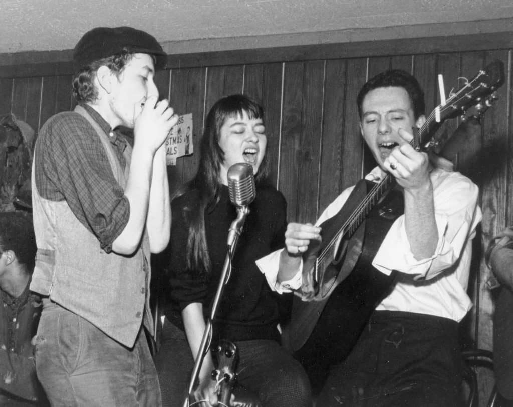 Bob Dylan, Karen Dalton, and Fred Neil at the Cafe Wha? in 1961 (Photo by Fred W. McDarrah)