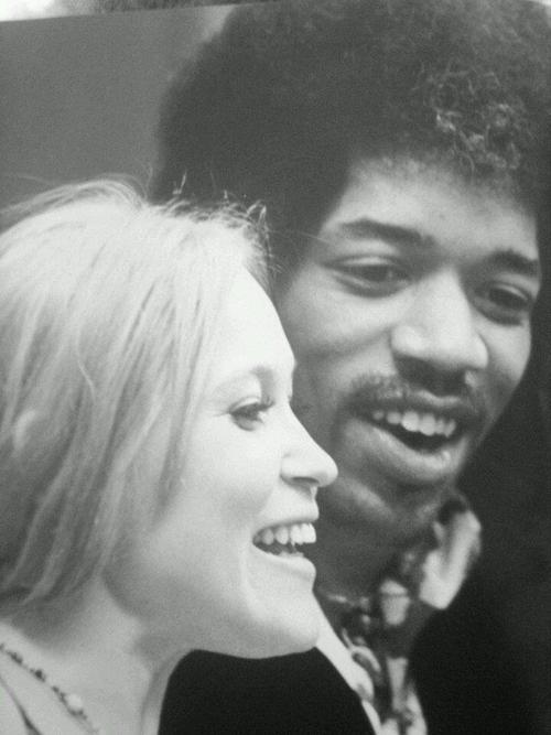 Jimi Hendrix on September 13, 1968 with Carmen Borrero in Los Angeles, California at Bob Masse Art Studio.