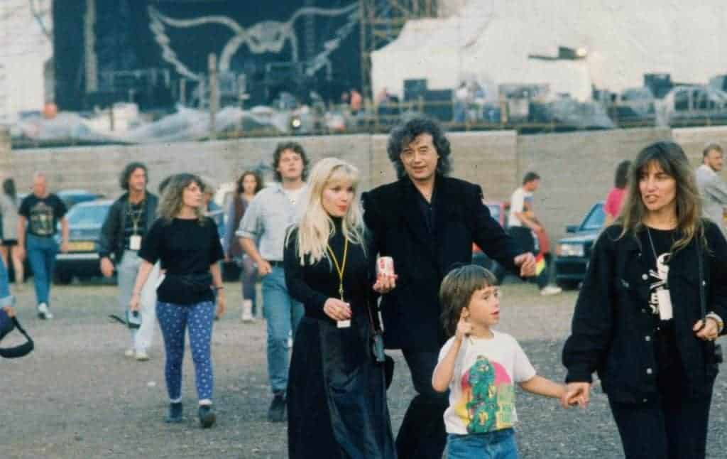 Jimmy Page of Led Zeppelin and wife Patricia Ecker Page, backstage Monsters Of Rock 1990.