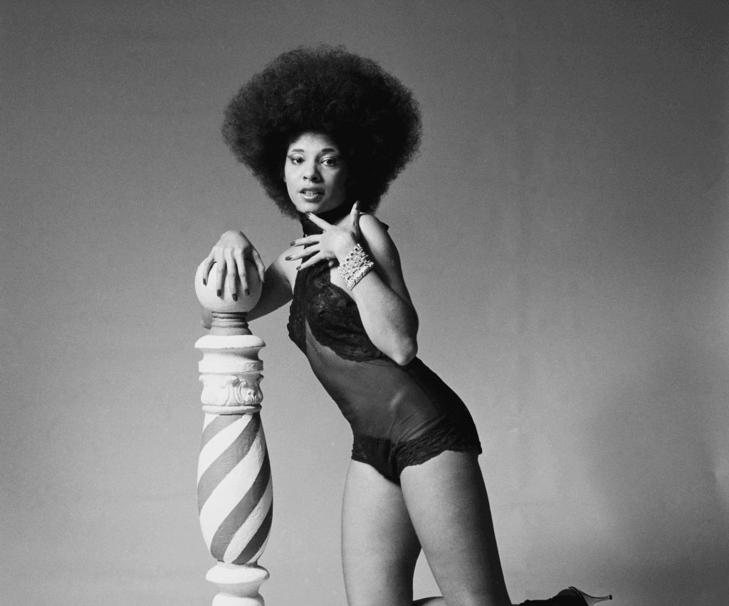 American singer Betty Davis posed in New York in February 1976. (Photo by Fin Costello