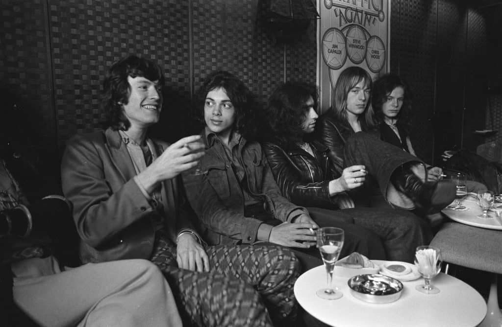 Steve Winwood & Free (Amsterdam, July 1970). From left to right: Stevie Winwood, Andy Fraser, Paul Rodgers, Simon Kirke, Paul Kossoff